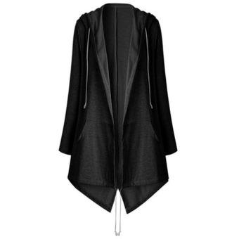 Color Sólido Moda Mujer Cardigan Dobladillo Asimétrico De Manga Larga Con Capucha  Dama Negro 7ff9fe8c7362