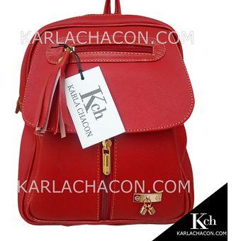 c5364dda36b Morral Bolso Mochila Mujer Dama Joven Unicolor Karla Chacon Ref Fabi Rojo