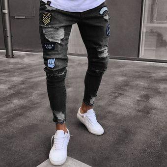 ahorrar 65c55 88d85 Moda Pantalones De Mezclilla Para Caballero Jeans Hombre-negro