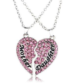 venta online mas fiable Venta caliente genuino Madre E Hija Collar Colgante Necklace De Diamantes Con Forma De Corazón  Regalo Del Día De La Madre