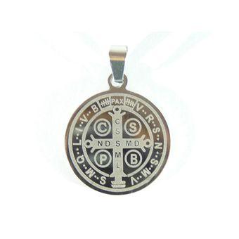 3e0bdb3ccd5 Compra Medalla San Benito Acero Inoxidable 2.6cm - Color Plata ...