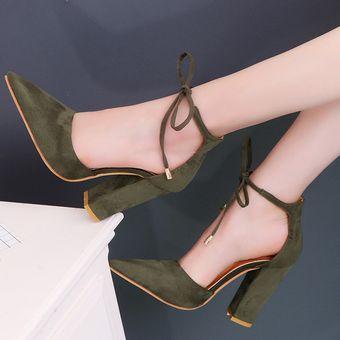 Tacón Zapatos Mujer Cordón Con Lazo Verde De L5jAR4