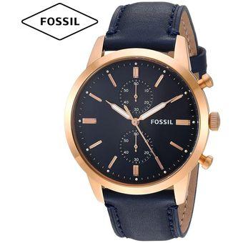 3642a9c9c887 Reloj Fossil Townsman FS5436 Cronometro Correa De Cuero - Dorado Azul