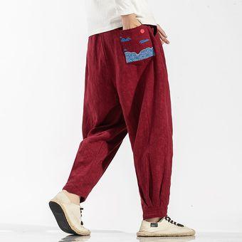 Pantalones De Lino De Algodon De Estilo Chino Para Hombre Pantalones Harem Holgados De Gran Tamano Para Hombre Pantalones De Moda Bordados De Otono Red Linio Peru Ge582fa0oyipplpe