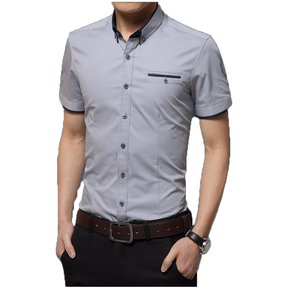 Camisa Hombre Diseño Doble Cuello Manga Corta - Gris 529a955eb6fe0