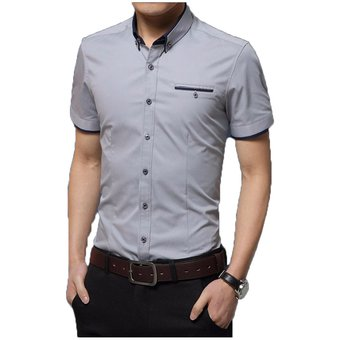 8e1b88b471 Compra Camisa Hombre Diseño Doble Cuello Manga Corta - Gris online ...