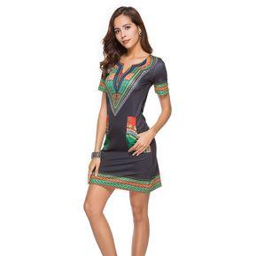 a7925dd62 Vestido Casual Generico Nation Wind de impresión Negro - Verde