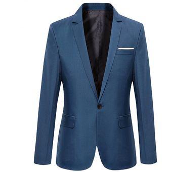 Juego Del Ocio Delgado Traje De Chaqueta Negocios Casual Blazers Para  Hombres- Azul de3e896fb83