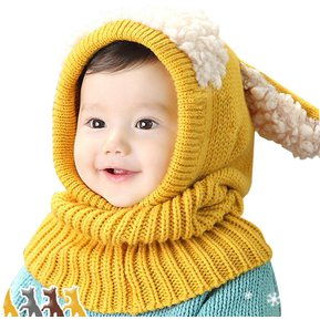 Sombrero de oreja de conejo de invierno para niños- Amarillo d9ad0a9c2c7