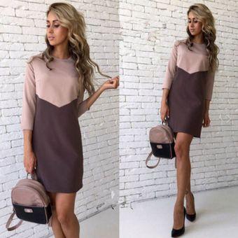 45358e7df Vestido de Oficina E-Thinker mujer elegante y corto de color del topetón -  Caqui