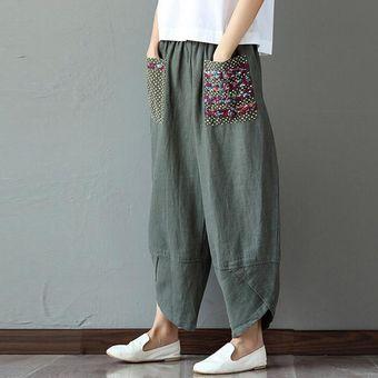 Compra Mujer Elástica Cintura Retro Impresión Lino Pantalones Harem ... 208b69bdd7a9