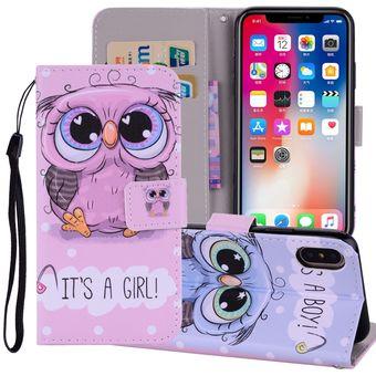 Cute Owl Pattern Dibujo Coloreado Horizontal Flip Funda De Cuero Para Iphone X Con Soporte Y Ranuras Para Tarjetas Y Billetera Y Lanyard