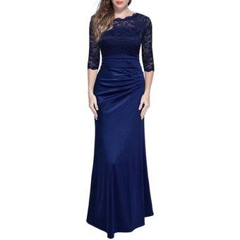 Vestido de fiesta azul con encaje