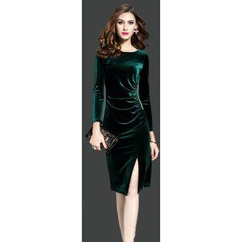 Vestidos De Terciopelo De Las Mujeres Más El Tamaño Verde