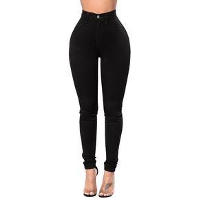 dff328d144 moda mujer negro de cintura alta jeans ajustados