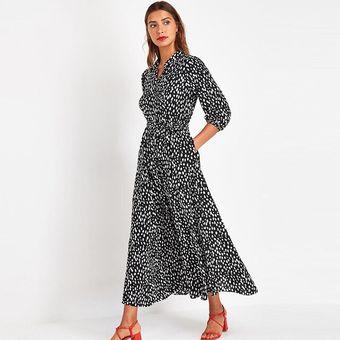 Elegante vestido de camisa de oficina con cuello vuelto para mujer vestidos  largos informales con estampado de puntos vestido con mangas de tres ...