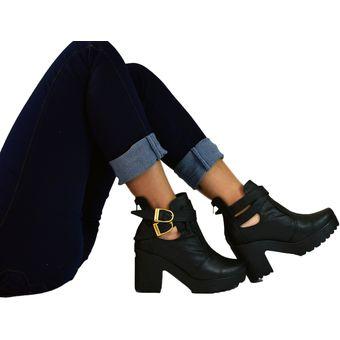 58ffd10bd0 Botines Tacón 5 Y Medio Plataforma Para Mujer OutFit París Negro ...