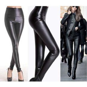 ca1abd305e Pantalones Largos Leggings Elástico Cuero Delgado Para Mujer - Negro