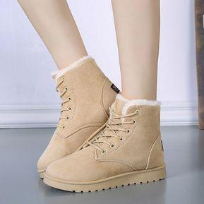 Botas De Nieve De Invierno Botines De Mujer Zapatos De Algodón Cordones 7410c298aa9e