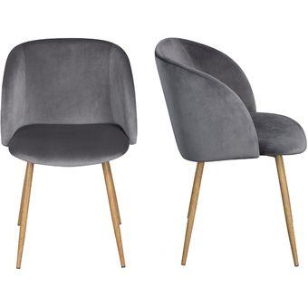 Compra Set 2 sillas para comedor Sato terciopelo - Gris online ...