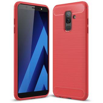 chic clásico 2019 profesional Super baratas Funda De Fibra Carbono Para Samsung Galaxy A6 Plus 2018-Rojo