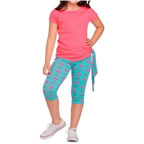 Conjunto Infantil Marketing Personal Para Niña Rosado Neon Azul Estampado ae0b9a5f4d9