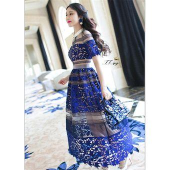 e0bf06ac6 Compra vestido largo con mangas cortas estilo elegante con estampas ...