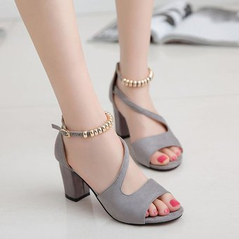 El verano los zapatos de tacón alto del Tobillo Mujer sandalias de tacón  grueso Zapato abierto 158d5e1656b1