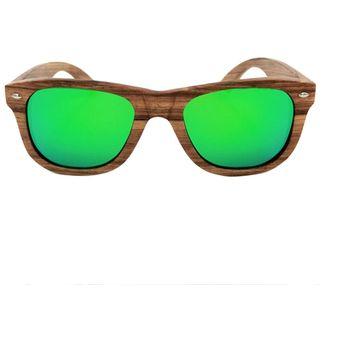 ER Bisagra De Metal Vintage Unisex Popular Zebrawood Frame Gafas De Sol  Polarizadas -Green f5bc39030c