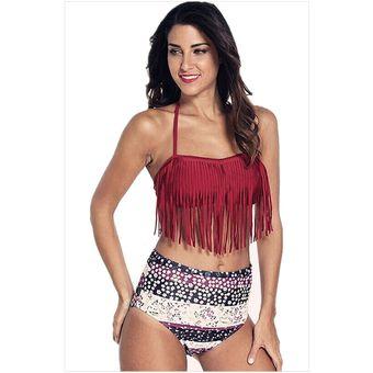 6455efc401ab Trajes de baño Bikini de 2 piezas con Flecos estilo Bohemia y Americano -  Rojo oscuro