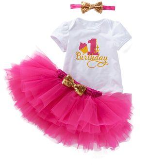 Bebé Niña Cumpleaños Con 3pcs Trajes Unicornio Rosa Rojo