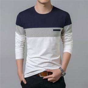 Moda Labor de retazos Manga larga O-cuello Camiseta hombres 1f81183092962