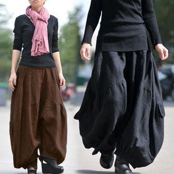 Zanzea Solido Largo Ancho Pierna Holgada Holgada Pantalones Cargo Pantalones Mujer Algodon Lino Cintura Alta Elastica Moda Linterna Pantalon Negro Negro Linio Peru Za448fa0vyrtolpe