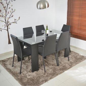Compra comedor milan 6 puestos negro sillas 6 negro online linio colombia - Sillas economicas para comedor ...