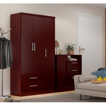 Ropero Closet Bertolini 583 3 Puertas 2 Cajones Caoba