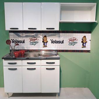 Mueble Cocina Telasul Triple Medio Turquesa 4 Pzas Blanco