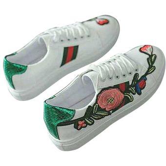 Moda Puntera cordones zapatos Verde Flores casual bordado con redonda rosas Flats Fpx0FwCcqr