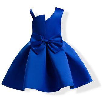Vestido Casual Niña Arco Vestido De Princesa Azul