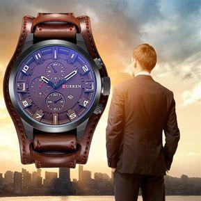 2189320dd308 Reloj De Pulsera De Cuero Moda Hombre Curren Analogo