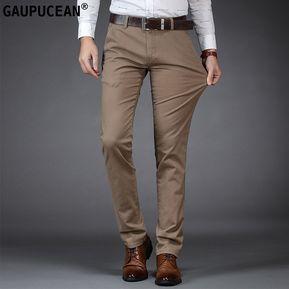 61535c9c6b Pantalones Casual Algodón Formal Gaupucean Para Hombre-Caqui