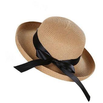 Estilo británico Womens Moda tejer sombrero de paja de moda playa plana Azul b4eaf6c7025
