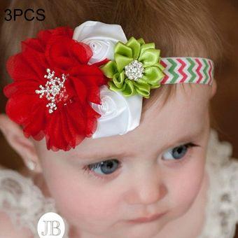 3c18dd2cc23 3 PCS Decoracion De Navidad Bebé Niño Diadema De Flores De Gasa Vestido De  Vacaciones