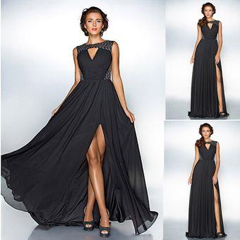 211821180 Agotado Vestido largo fiesta de gasa sexy chifón vestido de fiesta de verano