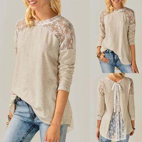 e15d30c6c869f Camiseta costura del encaje con lazo y manga larga - Beige