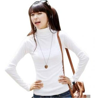 Modaling Camisa Básica Jerseys Cuello Alto Sólida Tapas Manga Larga  Elástica Para Mujer - Blanco 384a5032f6ee