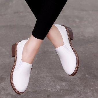 94cfbe86a3 Compra Zapatos Planos PU Con Cordones Y Punta Redonda Zapatos Oxford ...