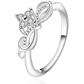 e8091c90fd7b Plata cromado nuevo anillo de dedo diseño para dama