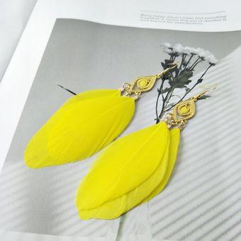 77c45214821b EY 1 par de aretes de plumas de moda brillando pendientes Joyería  Creativa-Amarillo
