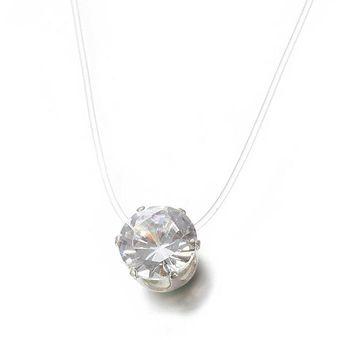 dd52005ddfd6 Collar de diamantes de imitación de moda invisible cadena de pesca  transparente joyería regalo para Mujer