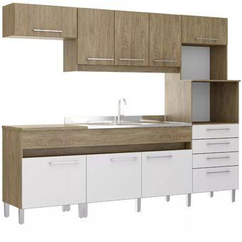 Kit Mueble Cocina 8 Puertas 4 Cajones Wood/Branco 137780